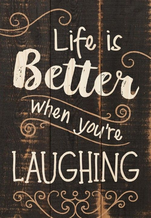 Life is Better When You're Laughing Dark Painted 7 x 5 Small Wood Plank Desig...