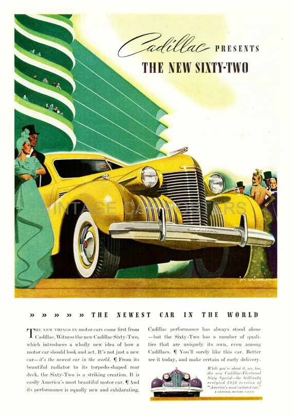 Vintage Auto Poster  1940 CADILLAC Advertising by southcoaststudio, $12.00