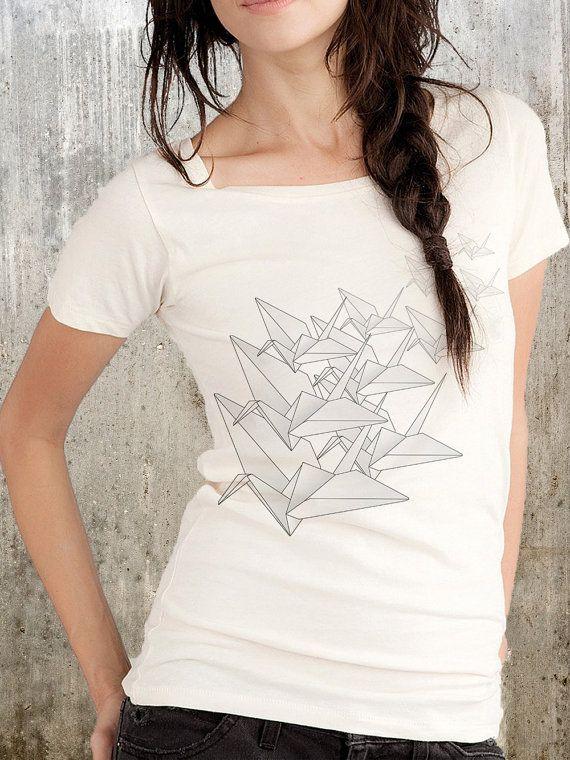 Vêtements pour femmes organiques Scoop Neck T-Shirt - Origami oiseaux - alternatives - disponible en S, M, L et XL 20.00euro