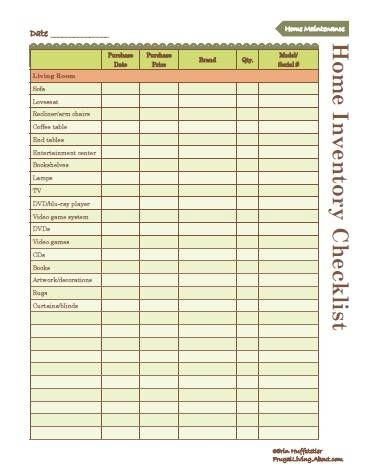 Use this home inventory checklist to inventory the contents of your home.