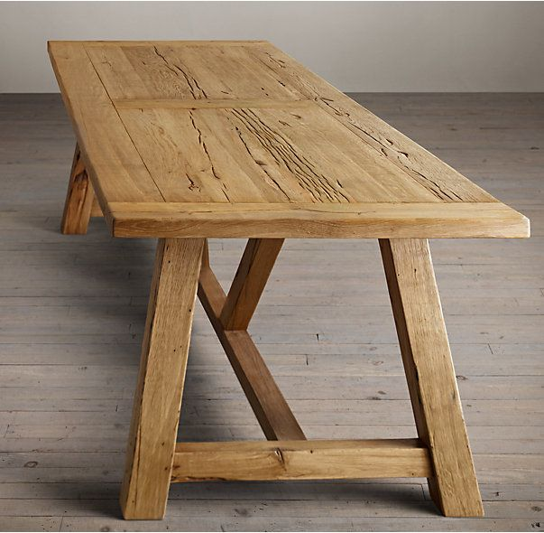 RHs Reclaimed Russian Oak Trestle Rectangular Dining TableHandcrafted Of Solid Oak Timbers