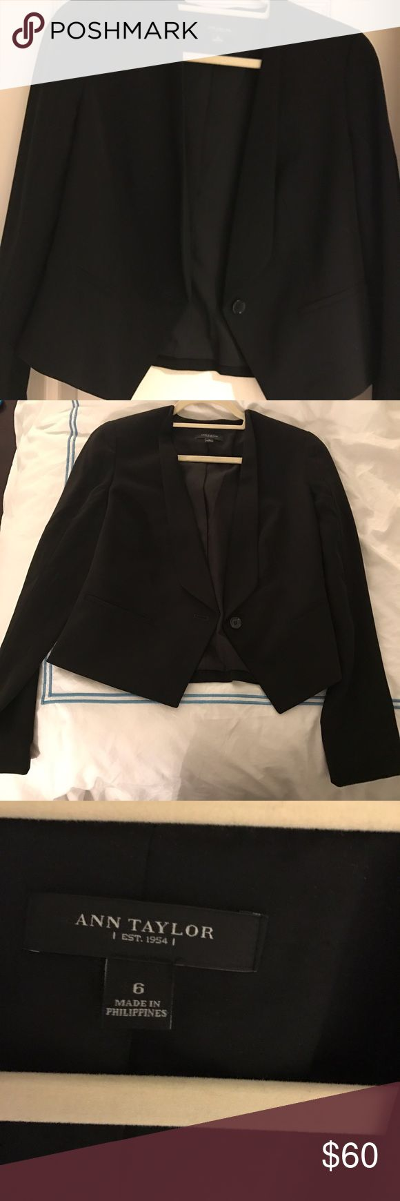 Ann Taylor tuxedo jacket Black tuxedo jacket/blazer from Ann Taylor worn at a maternity fashion photo shoot- no button closure, draping lapel. Worn with a white shirt and jeans for a casual office look. Ann Taylor Jackets & Coats Blazers