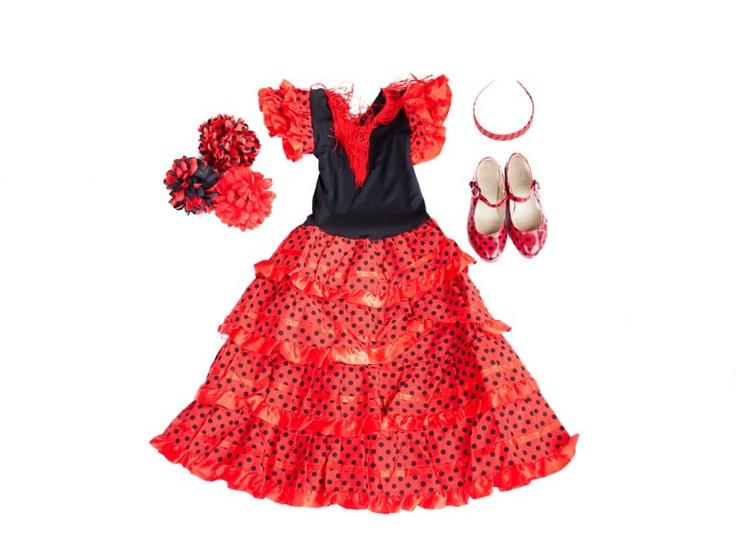 Spaanse jurk pakket Señorita rood/zwart + GRATIS haarband + GRATIS Bloem