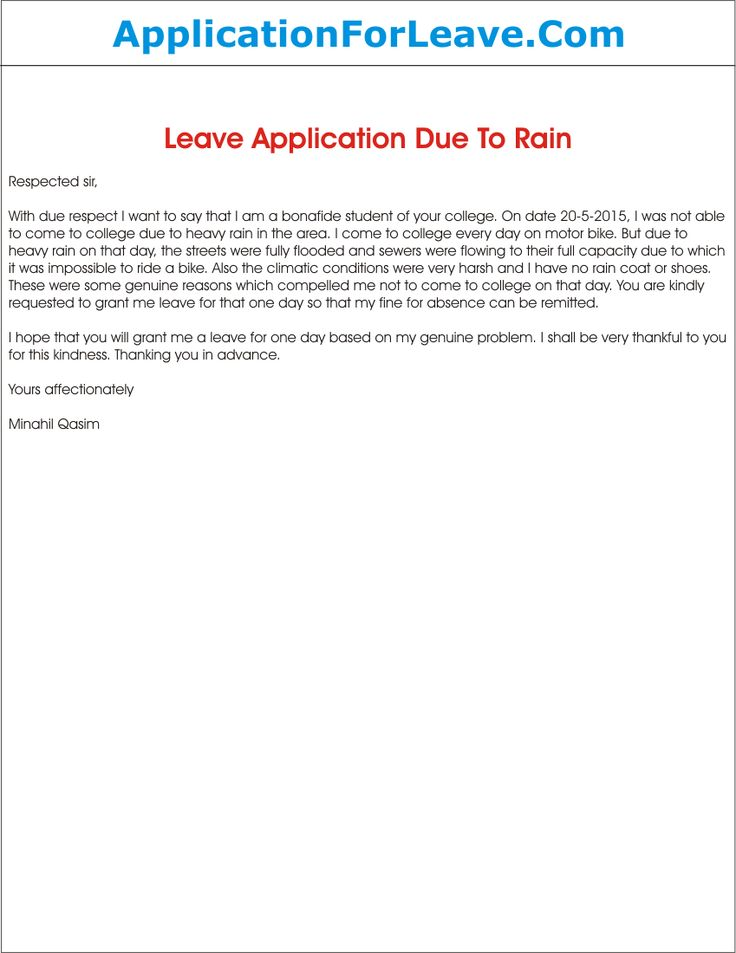 Leave Application Due Heavy Rain Semioffice Sample Letter