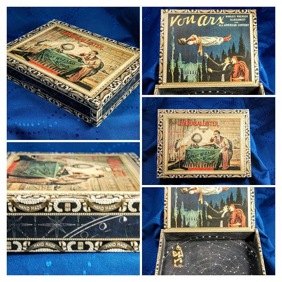 """Magic & Illusion Decoupage Storage Box, Trinket Box, Keepsake Box, Display Art Box   This cigar box has been thoughtfully designed and decorated using decoupage technique. It is a one of a kind gift.     Prof. J.M. Macallister. The Wizard of the World """"at home in his private laboratory"""". Illusion and levitation is the theme on the inside.     We have done our best to select the highest quality cigar boxes available. However, there may be some box imperfections that will not affect its beauty…"""