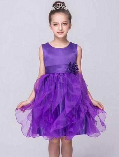 Cheap Bow Lace Cute Sleeveless Princess Dress for wedding