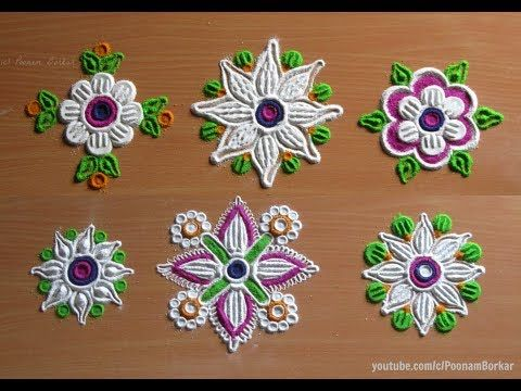 6 Easy, quick and unique flower rangoli patterns | Easy rangoli designs with colors by Poonam Borkar - YouTube