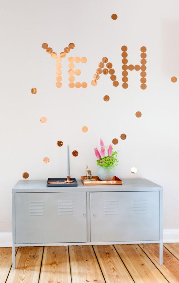 Wanddeko - Kupfer-Konfetti 30er Set - ein Designerstück von Steffi-von-www-ohhhmhhh-de bei DaWanda