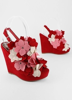Flower Stud Slingback Wedges in Red Multi from GoJane: Cheap Wedges, Shoes Wedges, Platform Wedges, Studs Wedges, Gojan Shoes, Flowers Studs, Black Shoes, Wedges Shoes, Wedges Sandals