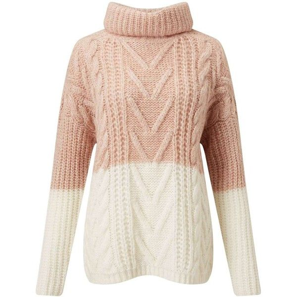 Miss Selfridge Pink And Cream Cable Chunky Knitted Jumper ($61) ❤ liked on Polyvore featuring tops, sweaters, pink, pink top, color block sweater, block jumper, cream sweater and acrylic sweater