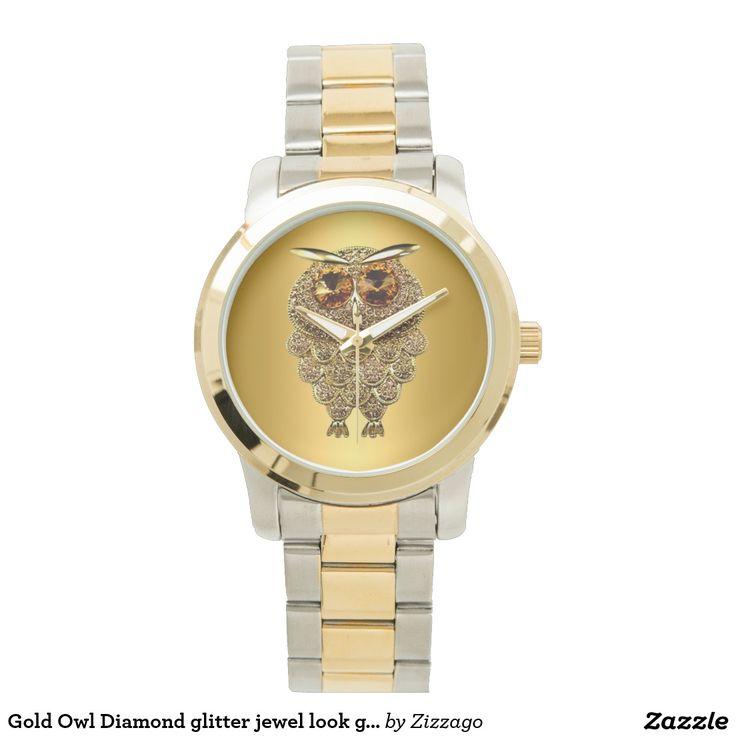 Gold Owl Diamond glitter jewel look glam Wrist Watches