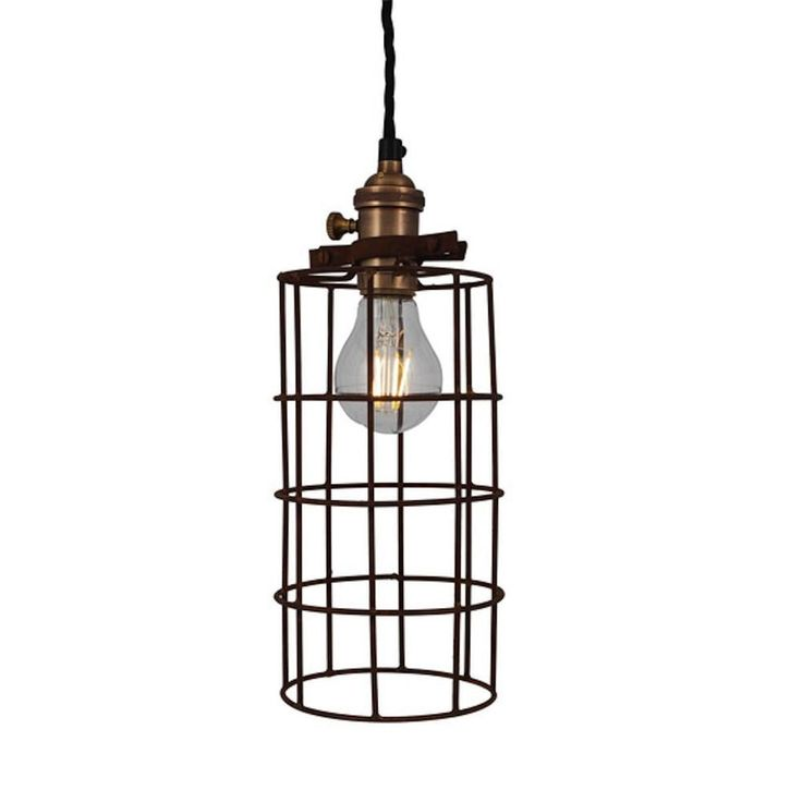 Vintage industrial style rusty cage wire pendant light
