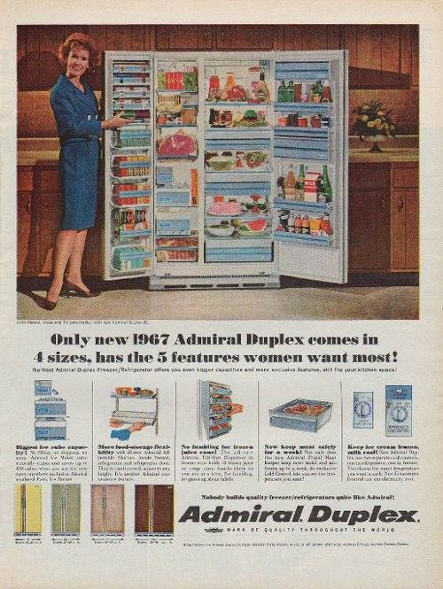 1967 admiral refrigerator ad   5 features   43 best admiral  appliances images on pinterest   vintage ads      rh   pinterest com