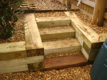 wooden retaining wall steps | home contact us patio and paving decking ponds woodland management ...