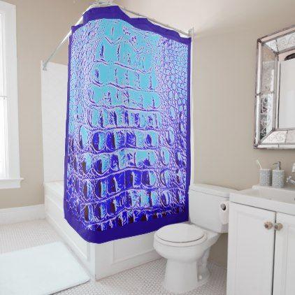 "VINTAGE ""HORNBACK"" ALLIGATOR  CARIBBEAN SEAS BLUE SHOWER CURTAIN - shower curtains home decor custom idea personalize bathroom"