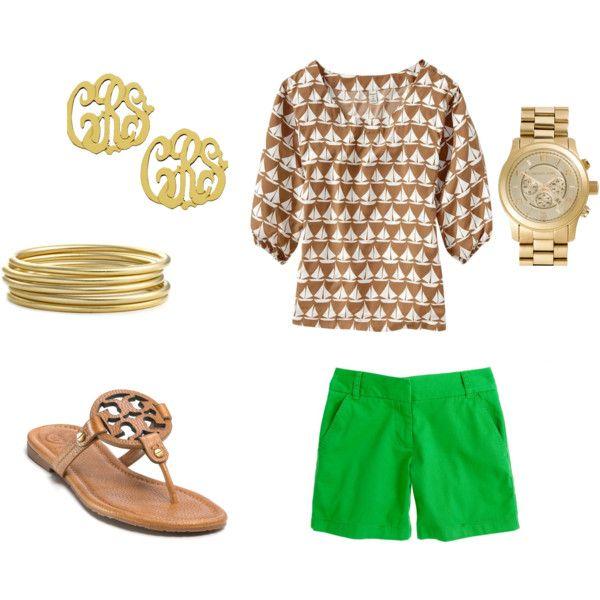 spring preppy, green shorts, tunic, monogram earrings