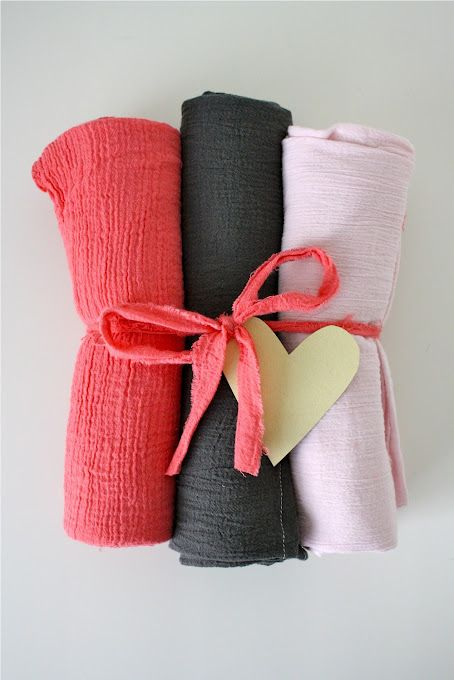 """make your own Aden and Anais swaddle blankets- much cheaper  45x45"""" (1 1/4 yd) of gauze fabric (available at JoAnn's)"""