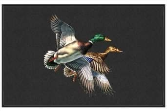 """Mallard Mates Duck - Waterfowl - Black - Door and Welcome Mat by Express Yourself Mats. $24.88. Great Gift Idea!. Non-Skid Backing. Door Mat Size 27""""x18"""". Personalization Available (choose above) - EMAIL TEXT TO SELLER AFTER CHECKOUT. Made in USA. Enjoy the Mallard Mates Duck design heat pressed on this light-weight, low pile,woven polyester door mat. This decorative welcome mat measures 27 x 18 inches, is 1/8 inch thick and features a non-skid latex coating on the back with ..."""