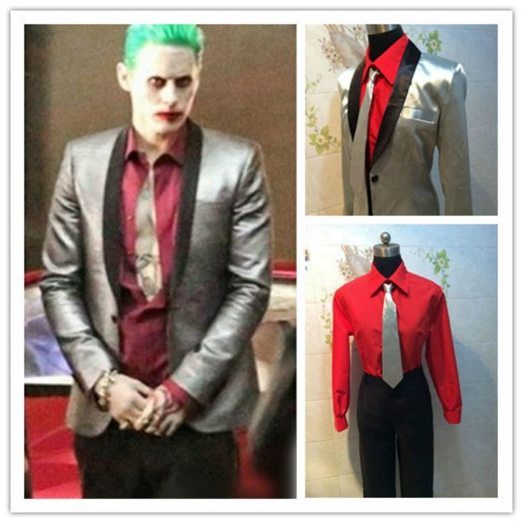 Halloween Costume Suicide Squad Jared Leto Joker Costume Cosplay Suit Silver Coat Psychos Killers Jacket Free shipping