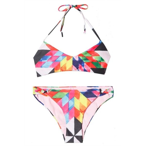 Mara Hoffman Fractals Print Bikini ($160) ❤ liked on Polyvore featuring swimwear, bikinis, bikini swimwear, multicolor bikini, red bikini, red swimwear and print swimwear