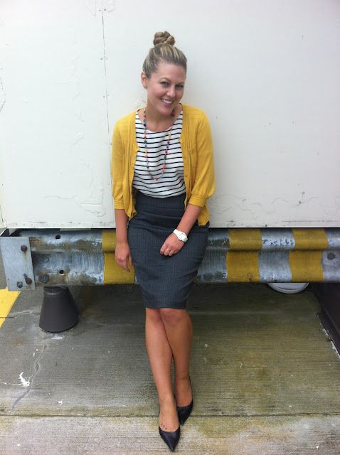 mustard cardigan, striped tee, grey pencil skirt workclothesisuppose.blogspot.com