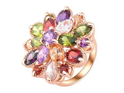 Обручальное кольцо с разноцветным швейцарским цирконом, покрытие розовым золотом 18 К