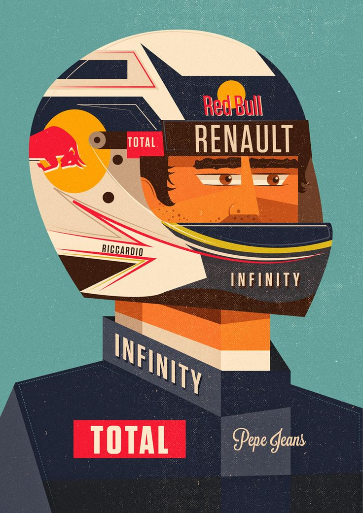 Portrait illustrations for Red Bull corporate passes for behind the scenes at the Monaco Grand Prix. Here we have Daniil Kvyat, Daniel Ricciardo, Carlos Sainz and Max Verstappen.