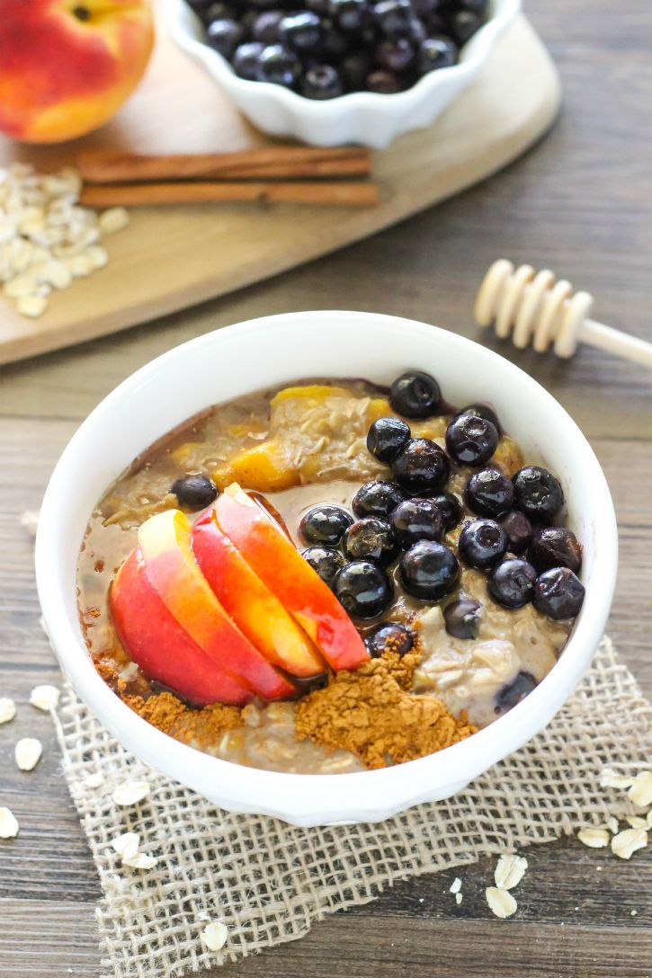 Blueberry Peach Oatmeal - a delicious oatmeal recipe made with freshly picked blueberries and peaches.  Great for quick breakfasts on the go!