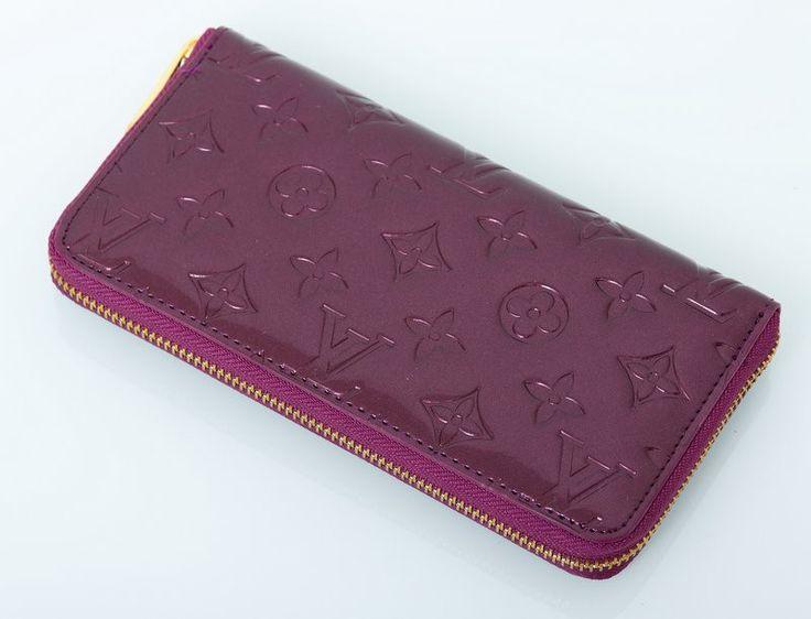 Кошелек кожаный с лаковым покрытием Louis Vuitton бордовый с монограммами #18849