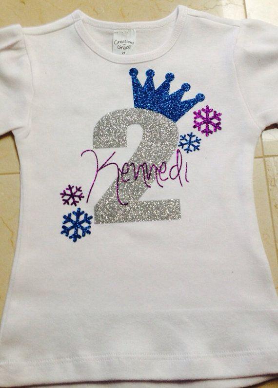 Frozen Birthday Glitter Vinyl Tee Shirt/ Frozen Theme Shirt on Etsy, $25.00