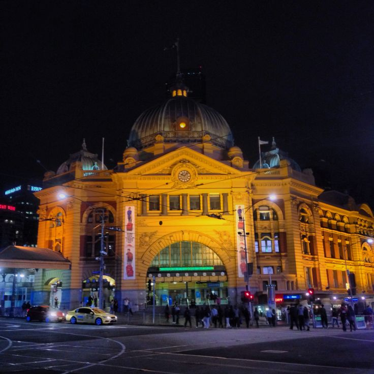 Flinders Street train station at night. One of the best ways to see the station is during the night. Lit up at night for your enjoyment.