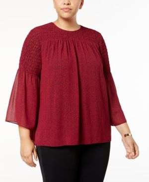 Michael Michael Kors Plus Size Smocked Top - Pink 0X