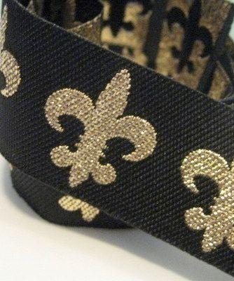Metallic Gold and Black Fleur de Lis Woven by khalinz on Etsy, $1.45