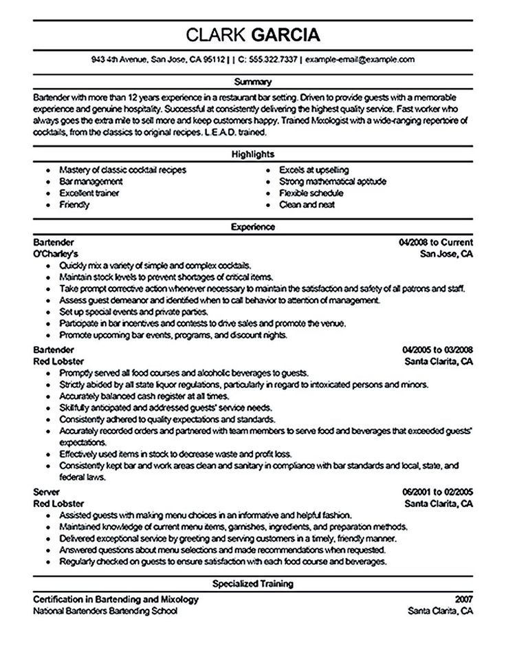 Marketing Consultant Resume - http\/\/jobresumesample\/550 - bartending resume template
