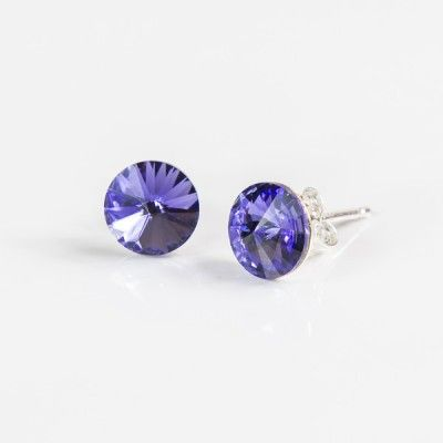 Swarovski Rivoli Earrings 6mm Tanzanite  Dimensions: length:1,4cm stone size: 6mm Weight ~ 0,70g ( 1 pair ) Metal : sterling silver ( AG-925) Stones: Swarovski Elements 1122 SS39 ( 1122 6mm ) Colour: Tanzanite 1 package = 1 pair Price 7.49 PLN( about`2 EUR)
