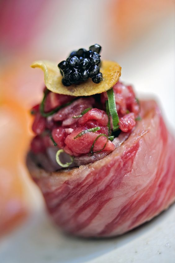 Wagyu Tataki Caviar Sushi-now I could fall in love with that!