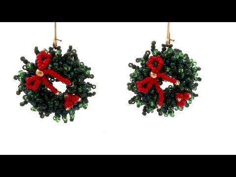 Beading4perfectionists : Christmas Wreath earrings beading tutorial - YouTube