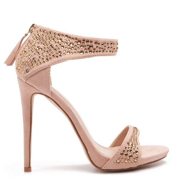 Embellished high-heel suede sandals in pink nude colour, with gold-tone studs.