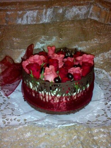 Chocolate cake with vivid flowers