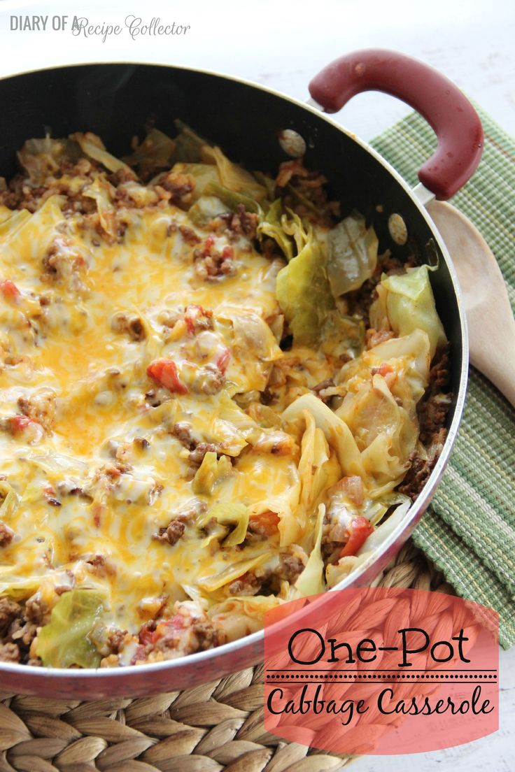 One-Pot Cabbage Casserole. All the tastes of cabbage rolls in one easy casserole.