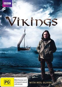 DVD - Vikings with Neil Oliver.  History sees the Vikings as a band of bloodthirsty pirates, raiding peaceful Christian monasteries… and it's true