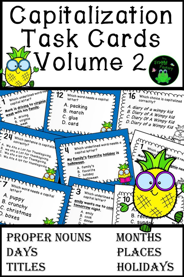 Do Your Students Need More Capitalization Practice These Capitalization Task Cards With A Pineapple Theme Are Perf Task Cards Teaching Writing Noun Task Cards