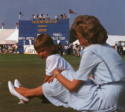 Princess Diana polo watching with William.