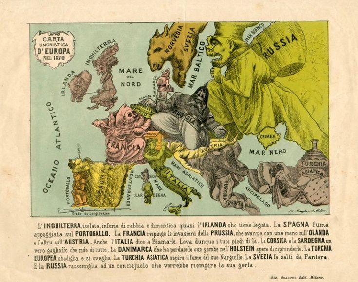 La carta ritrae le nazioni europee esaltandone alcuni caratteri.   La Prussia militarista nelle sembianze di un grasso soldato assoggetta l'Olanda (che ne è la mano) e calpesta un'agonizzante Austria; l'Irlanda sotto forma di un cane al guinzaglio di un'anziana signora che è l'Inghilterra; la Francia decisa a respingere l'aggressione prussiana.  La scritta in basso chiarisce inequivocabilmente i significati: la Turchia «sbadiglia e si sveglia», l'Italia «dice a Bismarck: Leva dunque i tuoi…
