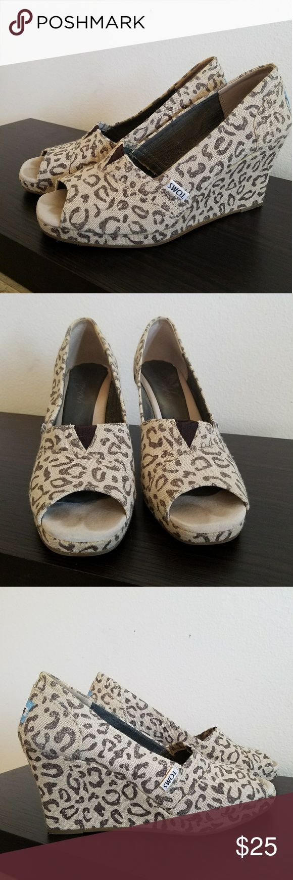 Snow Leopard TOMS Tom's Wedge Heel Snow Leopard Print. Excellent condition Toms Shoes Wedges
