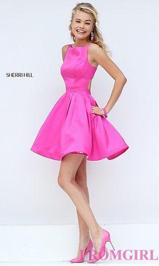Short Sleeveless Fuchsia Pink Dress by Sherri Hill at PromGirl.com