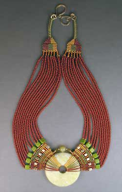 Beautiufl statement necklace By Joan Babcock, my absolute favorite micro-macramé artist. If u r a fan of micro-macramé , look her up as well as her store micro-macramé Nile Necklace