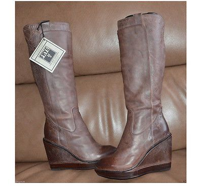Frye BROWN Paige Wedge Tall 34761 Women's Riding Boots Leather Western