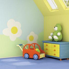 Playroom with blue floor