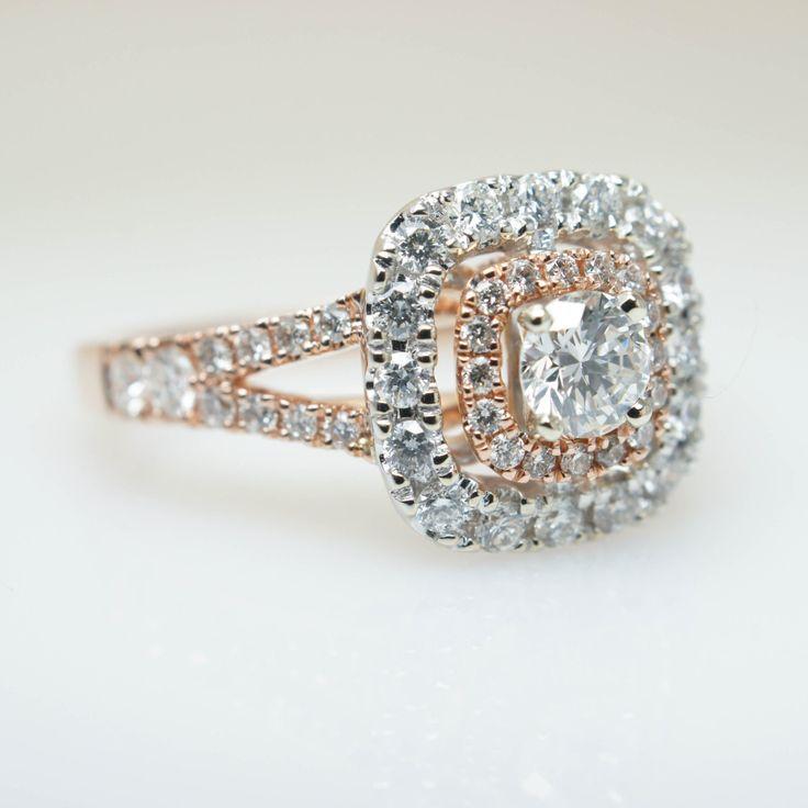 Rose Gold Diamond Double Halo Split Shank Engagement Ring White Engagement Rings Rose Gold Accents The Top Engagement Rings Rose Gold Accents